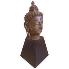 Bronze Buddha Head on Wood Base