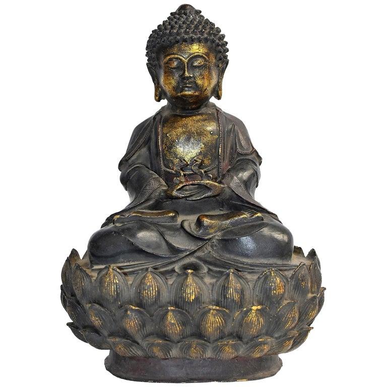 Bronze Buddha on Lotus Throne For Sale