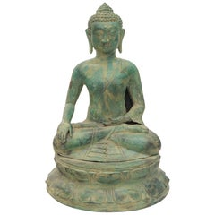 Bronze Buddha Sculpture Green Patina