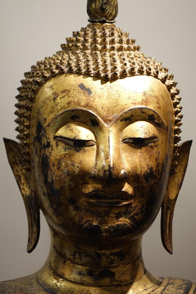Bronze Buddha Statue, Thailand, 19th Century In Good Condition In Paris, FR