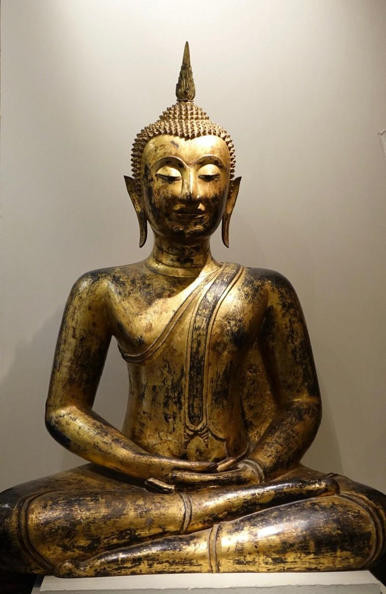 Statue of the Buddha in a sitting posture in dhyana or