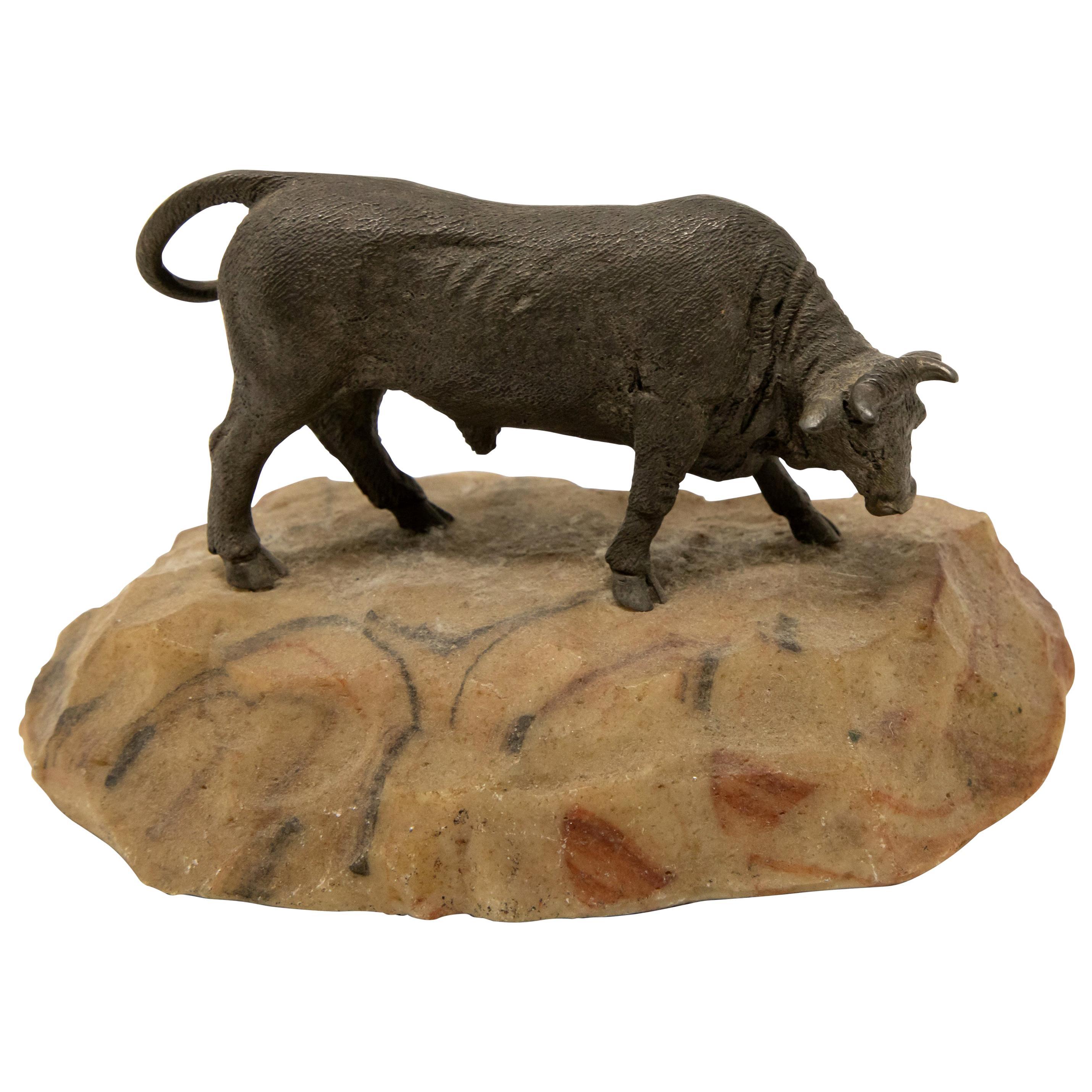 Bronze Bull on Stone Base