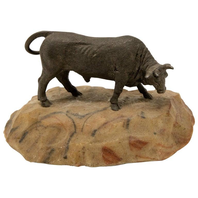 Bronze Bull on Stone Base For Sale