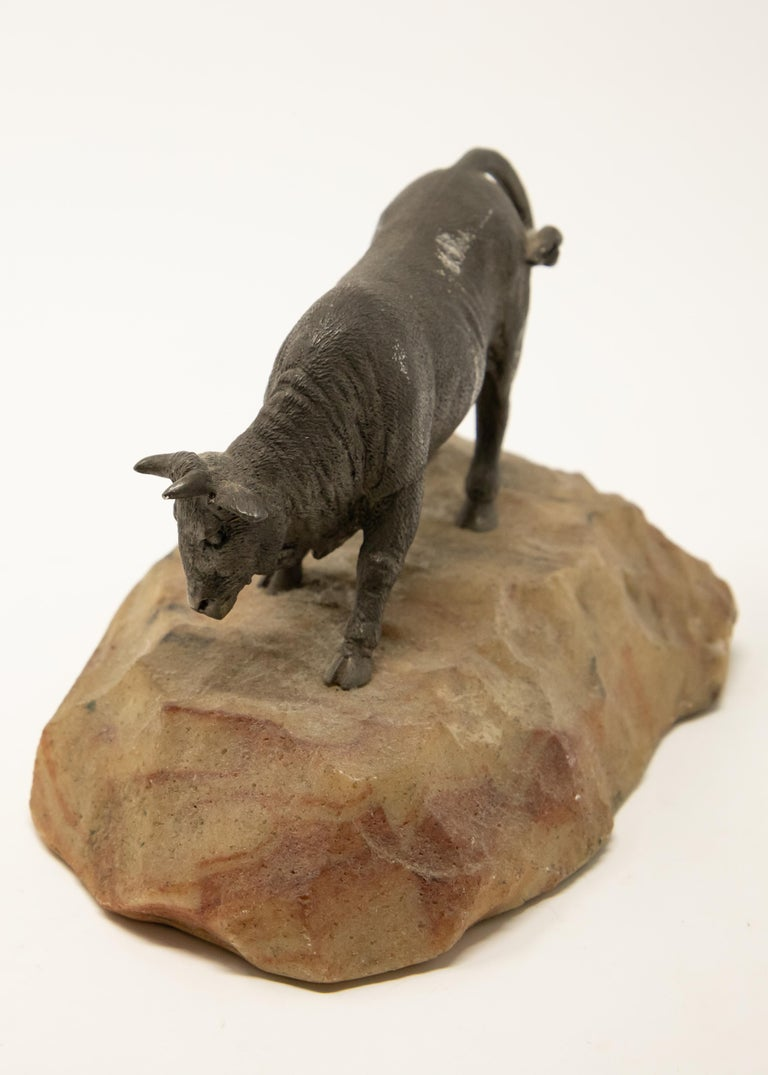 American Bronze Bull on Stone Base For Sale