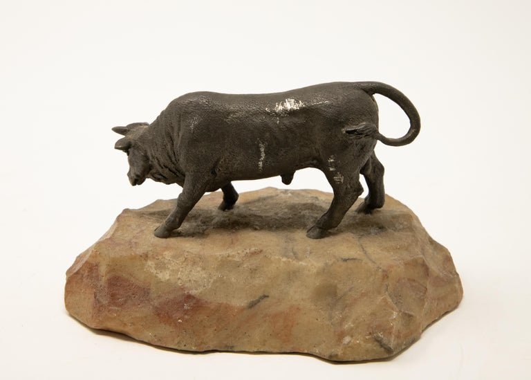 Hand-Crafted Bronze Bull on Stone Base For Sale