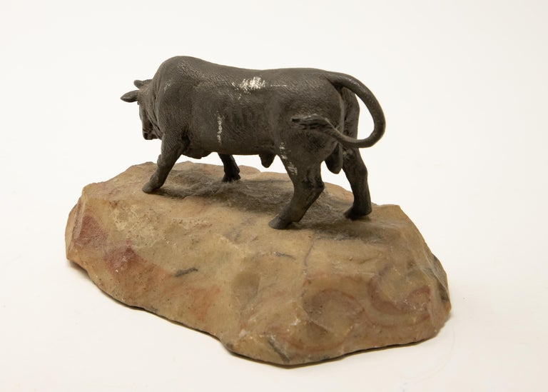 Bronze Bull on Stone Base In Fair Condition For Sale In Cookeville, TN