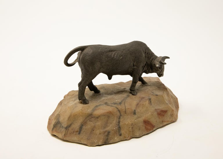 20th Century Bronze Bull on Stone Base For Sale