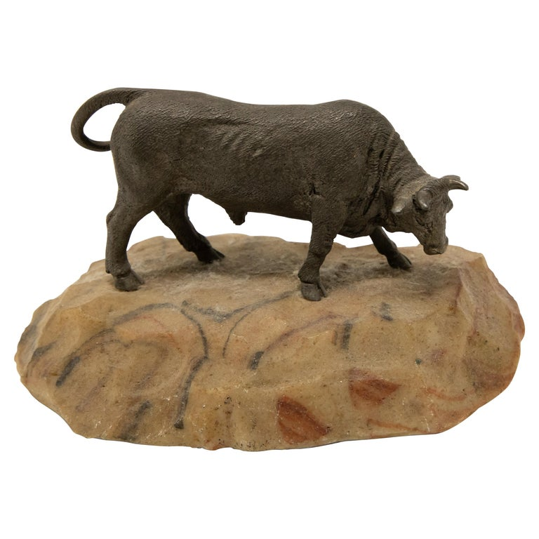 Bronze Bull on Stone Base For Sale