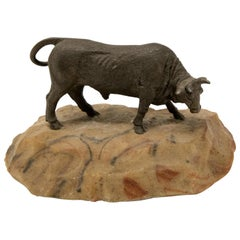 Bronze Bull on Stone Base