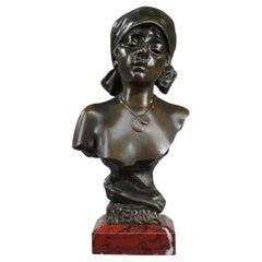 """Bronze Bust """"Nerina"""", Signed Emmanuel Villanis"""