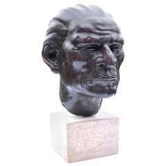 Bronze Bust of a Native American Signed and Dated