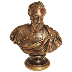 Bronze Bust of a Roman Male with Laurel Garland