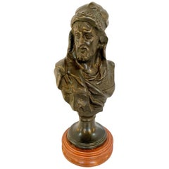 Bronze Bust of an Arabian Man on Marble Plinth