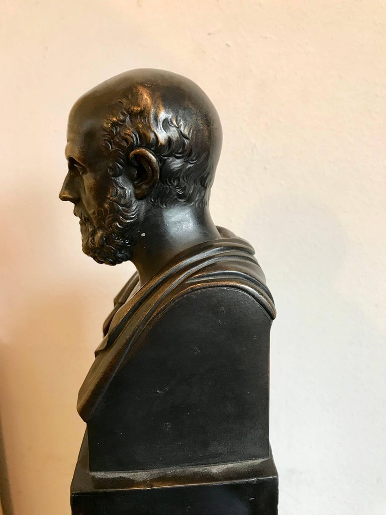 Neoclassical Bronze Bust of Hippocrates