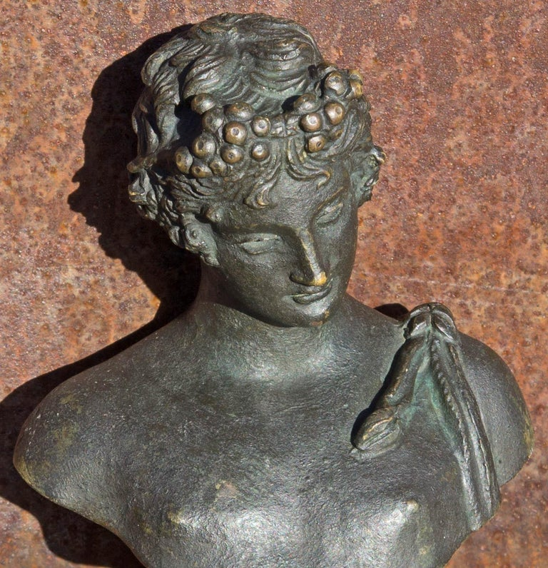 Bronze bust of classical Greek male. Possibly Bacchus. 19th century grand tour. Grand tour bronze bust of Narcissus after the original found in 1862 at Pompeii. When first found in Pompeii it was identified as Narcissus. Years later it was