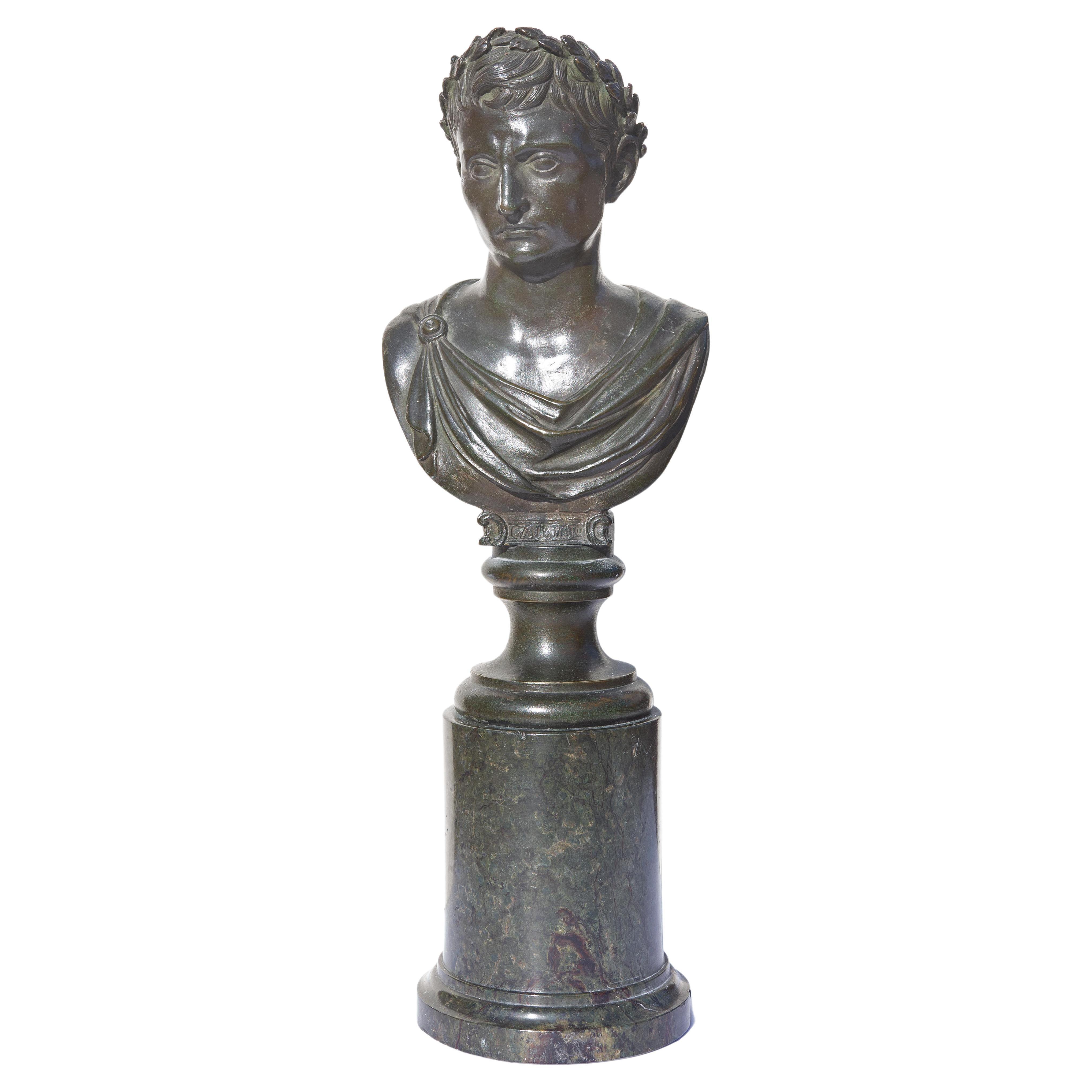 Bronze Bust of Octavius or Caesar Augustus 19th Century Grand Tour
