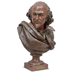Bronze Bust of Wm. Shakespeare, French, Late 19th Century by Carrier Belleuse