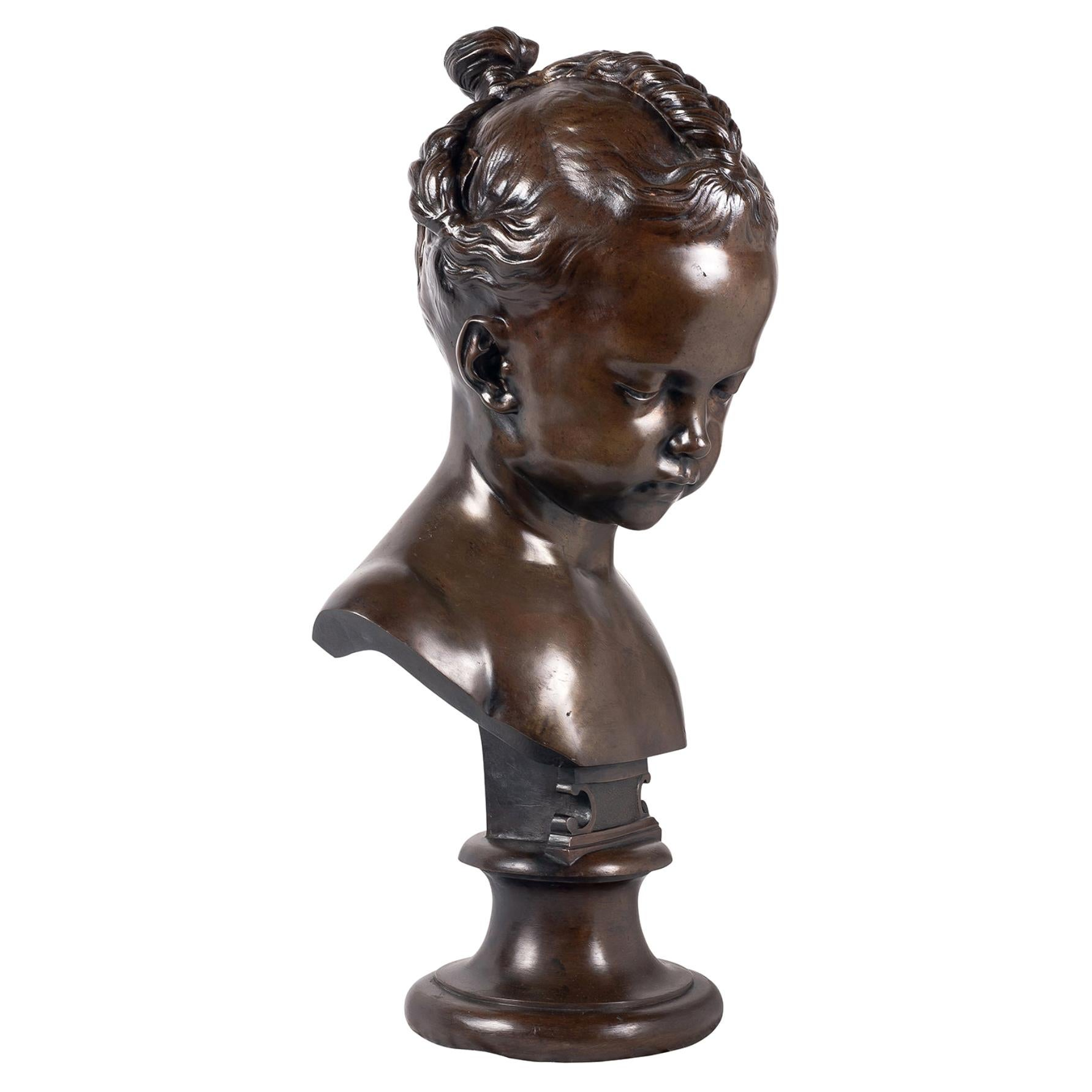 Bronze Bust of Young Girl, 19th Century
