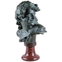 Bronze Bust on Red Marble Base by J. A. Injalbert Art Nouveau France, circa 1900