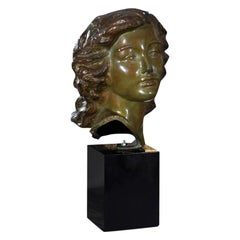 Bronze Bust, Woman by Sculpture Alexander Kelety Signed by Artist