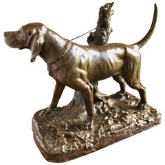 Bronze by Augustus Cain, Hunting Dog, 19th Century