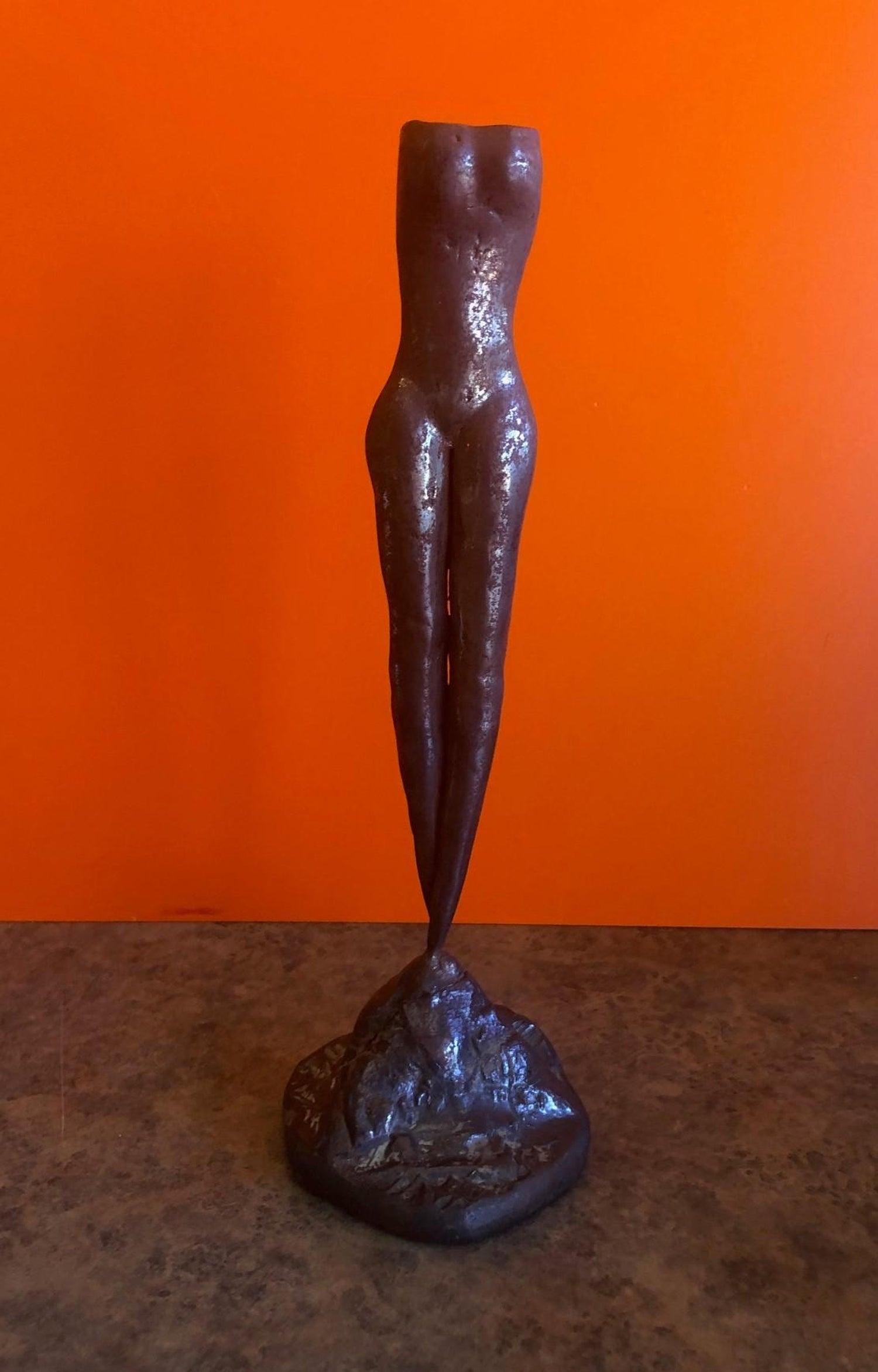 Angel Boris Nude bronze candlestick of a nude woman