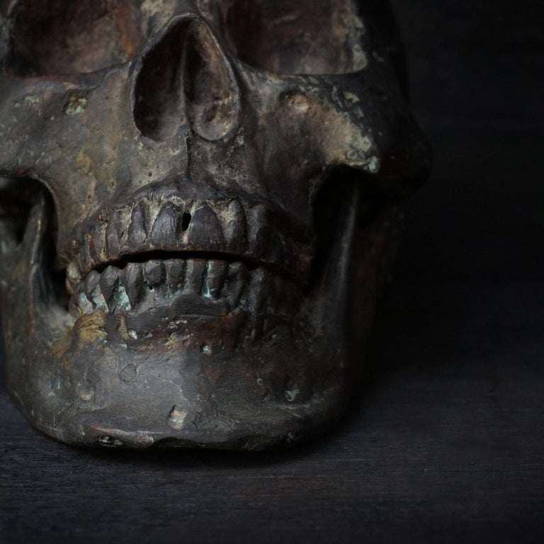 Bronze Cast of a Human Skull For Sale 4