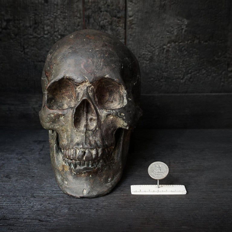 Mid-Century Modern Bronze Cast of a Human Skull For Sale