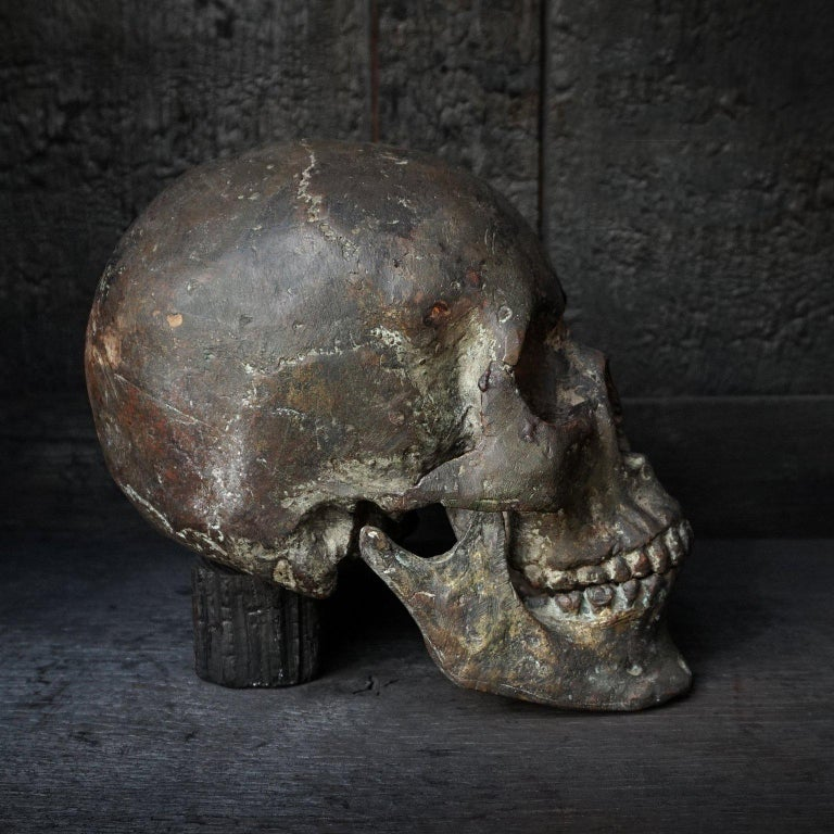 American Bronze Cast of a Human Skull For Sale