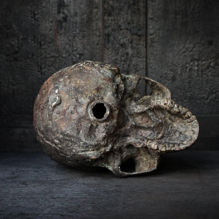 20th Century Bronze Cast of a Human Skull For Sale