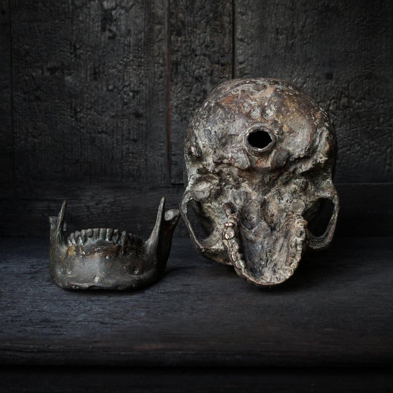 Bronze Cast of a Human Skull For Sale 3