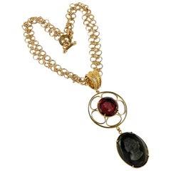 Bronze Chain and Murano glass double pendant by Patrizia Daliana
