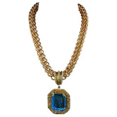 Bronze Chain and Turquoise Engraved Murano Glass Pendant made in Italy