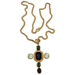 Bronze Chain with Murano glass Cross Pendant by Patrizia Daliana