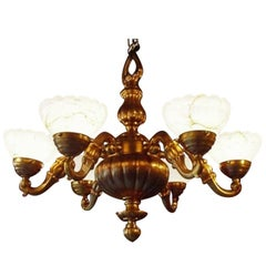 Bronze Chandelier with Alabaster Shades