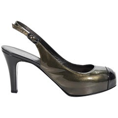 Bronze Chanel Patent Leather Slingback Pumps