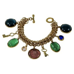Bronze Charm bracelet with Hand-Carved Murano glass inserts