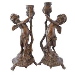 Bronze Cherub Candlesticks