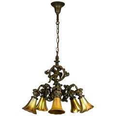 Bronze Cherub Light with Art Glass Shades