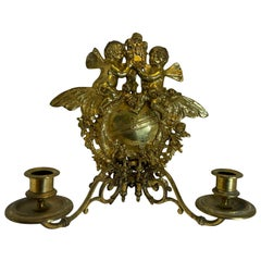Bronze Cherub Wall Sconce or Wall Candleholder