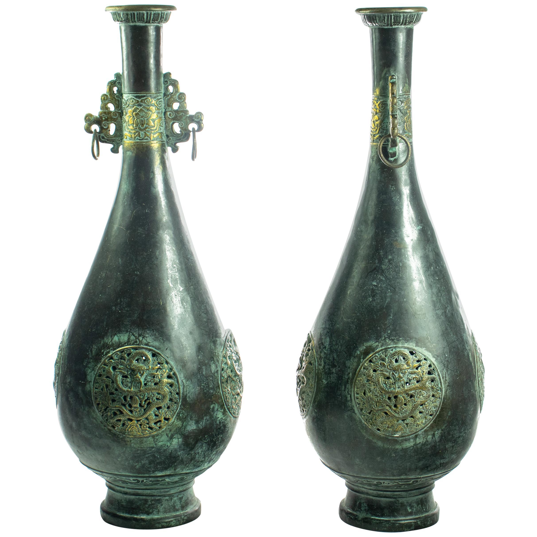 Bronze Chinese Antique Amphora Dragon Flower Carved Oriental Vessel Vase