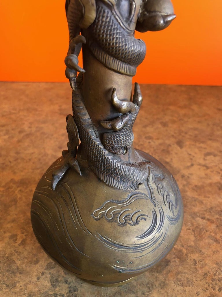 Chinese Export Bronze Chinese Dragon Vase For Sale