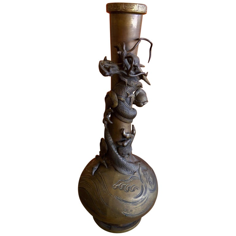 Bronze Chinese Dragon Vase For Sale