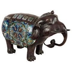 Bronze Champlevé  Enamel Elephant
