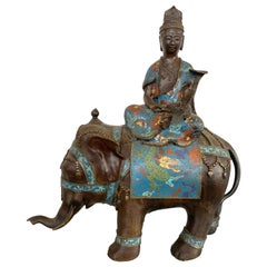 Bronze Buddha on Cloisonné Enamel Elephant Sculpture