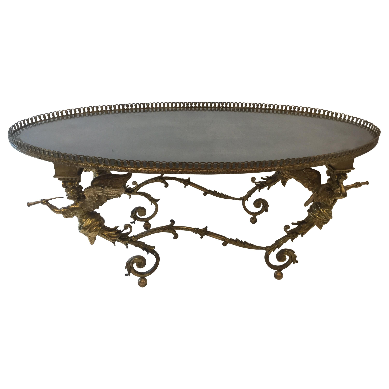 Bronze Coffee Table with Cherubs, 1960s, Italy