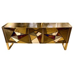 Bronze Color and Multicolored Opaline Glass Credenza with Brass Inlays, 1980s