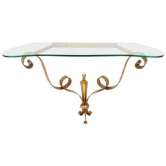 Bronze Console Table by Pierluigi Colli with Green Nile Glass Top, Italy, 1950