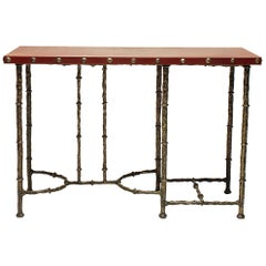 Bronze Console with Brown or Black Leather Wrapped Top