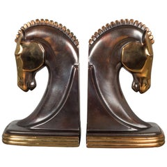 Bronze & Copper Plated Machine Age Trojan Horse Bookends by Dodge, circa 1930s